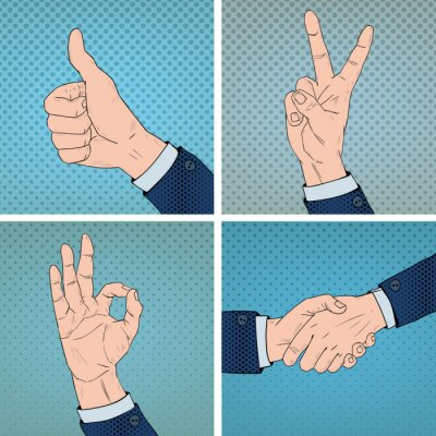 Quadro Gesti delle mani Situato in Comic Pop Art Style