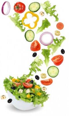 Quadro Gesund vegetarisch Essen Salat mit Tomate, Gurke, Zwiebel und Pa