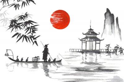 Quadro Giappone Pittura tradizionale giapponese Sumi-e arte Giappone Pittura tradizionale giapponese Sumi-e arte Uomo con barca
