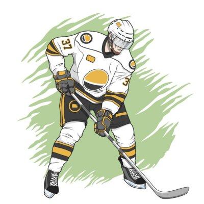Quadro giocatore di hockey su ghiaccio bianco