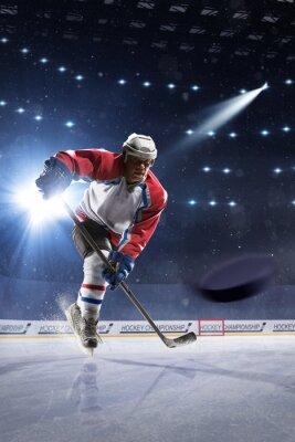 Quadro giocatore di hockey su ghiaccio sul palaghiaccio