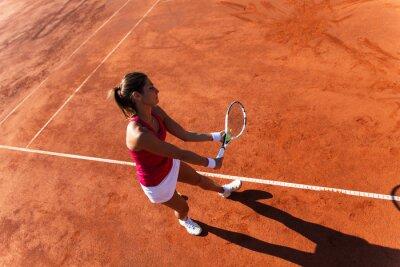 Quadro Giocatore di tennis femminile che serve una palla da tennis