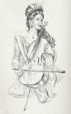 Quadro Giocatore violoncello.