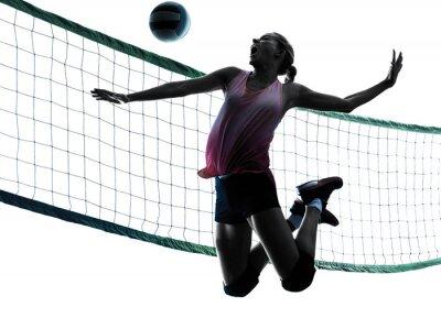 Quadro giocatori di pallavolo donna silhouette isolato