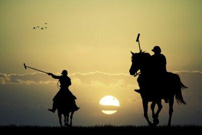 Quadro giocatori di polo a cavallo
