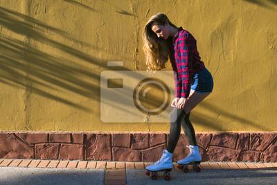Quadro Giovane donna in pattini a rotelle