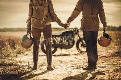 Quadro Giovane, elegante, cafe, racer, coppia, vintage, motociclette, su, un, campo.