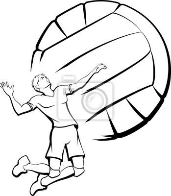 Quadro Giovane uomo sempre pronto a picco una pallavolo con una pallavolo stilizzata come sfondo.