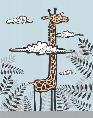 Quadro Giraffa divertente in nuvole
