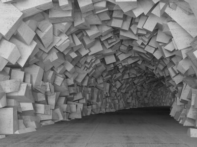 Quadro Girando interno tunnel di cemento, rendering 3d