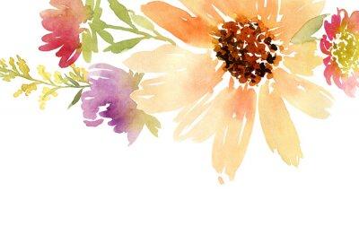 Quadro Girasoli acquerello Cartolina. Wedding. Floral background.