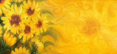 Quadro Girasoli di sole con il sole e gli ornamenti. Pittura ad olio su tela.