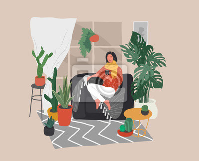 Quadro Girl sitting and resting on the couch with a cat and coffee. Daily life and everyday routine scene by young woman in scandinavian style cozy interior with homeplants. Cartoon vector