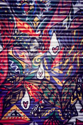 Quadro Graffiti Coloré sur porte métallique