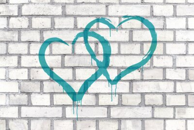 Quadro Graffiti Hearts rendered on a wall background