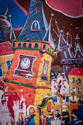 Quadro Graffiti maison aux couleurs vives