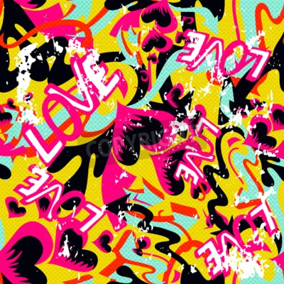 Quadro graffiti Valentino sfondo trasparente grunge