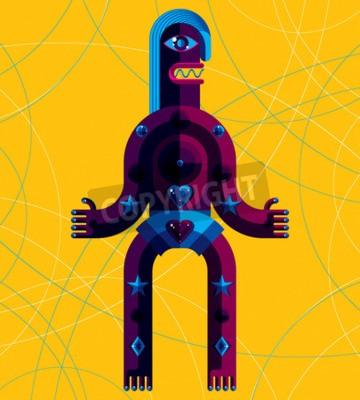 Quadro Grafica illustrazione vettoriale, carattere antropomorfico isolato su sfondo d'arte, decorativo avatar moderno realizzato in stile cubista.