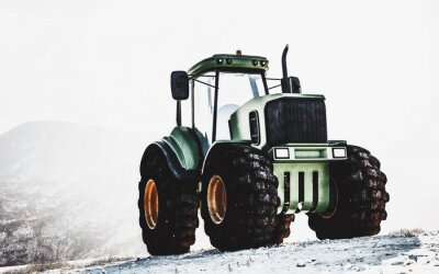 Quadro Grande trattore verde resistente su una montagna
