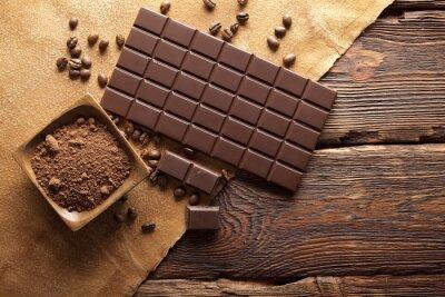 Quadro grani di cioccolato fondente, cacao e caffè