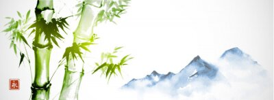 Quadro Green bamboo and far blue mountains on white background.Traditional Japanese ink wash painting sumi-e. Hieroglyph - eternity.
