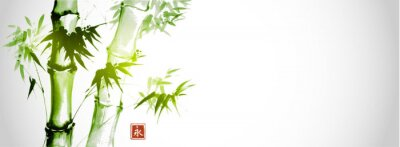 Quadro Green bamboo trees on white background. Traditional Japanese ink wash painting sumi-e.  Hieroglyph- eternity