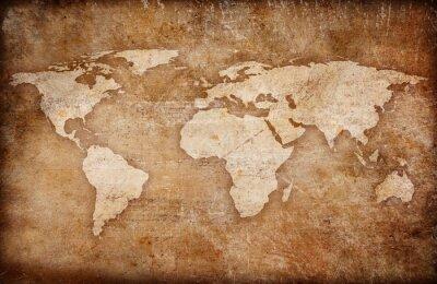 Quadro grunge mappa del mondo di fondo