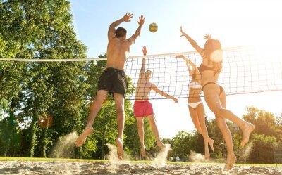 Quadro Gruppo di amici giovani giocano pallavolo sulla spiaggia