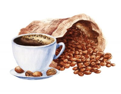 Quadro Hand drawn watercolor cup of black coffee with sack of beans isolated on white background. Food illustration.