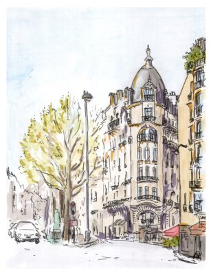Quadro Hand painted color sketch of Paris street