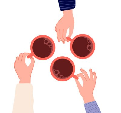 Quadro Hands holding cups. Coffee, tea in woman hand. Isolated mugs with hot drinks in cafe. Friends meeting or morning time vector illustration. Hot cup of coffee drink, hand with mug