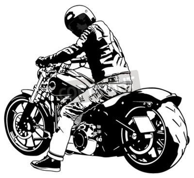 Quadro Harley Davidson e cavaliere - illustrazione in bianco e nero, vettore