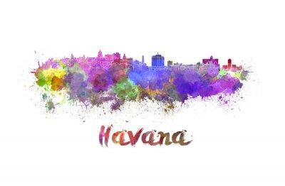 Quadro Havana skyline in watercolor