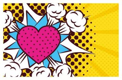 Quadro heart love pop art style