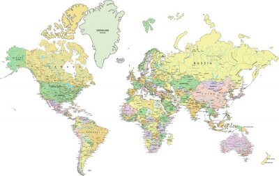 Quadro Highly detailed political World map with labeling.