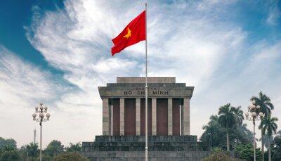 Quadro Ho Chi Minh mausoleo ad Hanoi con bandiera rossa comunista