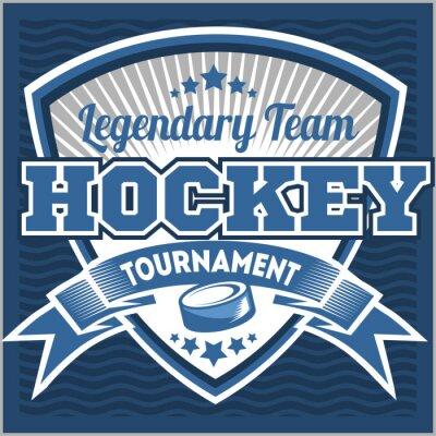 Quadro Hockey modello di marchio della squadra. Emblema, modello logotipo, t-shirt design dell'abbigliamento. distintivo sport per torneo o campionato