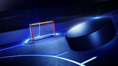 Quadro Hockey pista di pattinaggio e gol