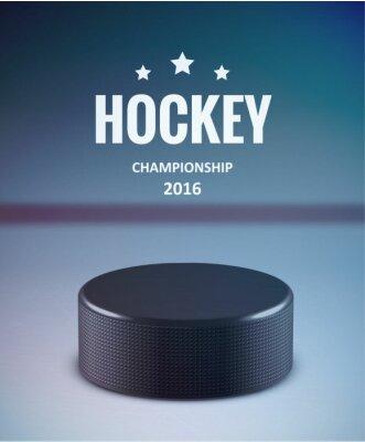 Quadro Hockey puck isolato su ghiaccio con sfocatura