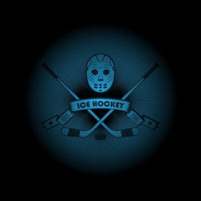 Quadro Hockey su ghiaccio! logo Sport. l'emblema che appare fuori dal buio. Perfetto sulla camicia nera! vettore