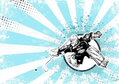 Quadro hockey su ghiaccio poster retrò