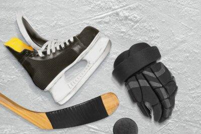 Quadro hockey su pattini, bastone e puck, guanti