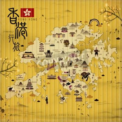 Quadro Hong Kong mappa con attrazioni in stile retrò - il titolo in alto a sinistra è il viaggio a Hong Kong in parola cinese