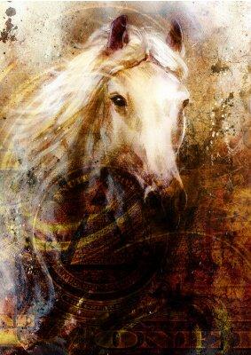 Quadro Horseheads, astratto sfondo ocra, con un dollaro collage.