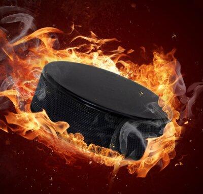 Quadro Hot hockey puck in incendi fiamma