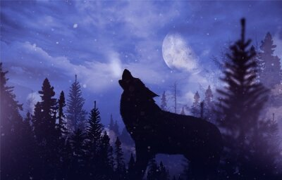 Quadro Howling Wolf in Wilderness