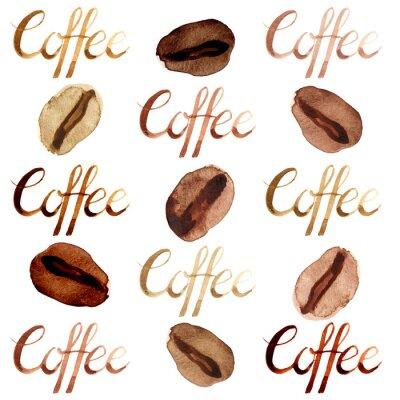 Quadro I chicchi di caffè e l'insieme marroni illustrati e dipinti dell'acquerello isolato segnano l'insieme