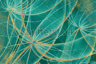 Quadro I denti di leone strutturati dell'estratto del fondo della pittura a olio con le strisce ei punti della ruggine dorati su tela per piano, tappeto, carta da parati, piastrelle di