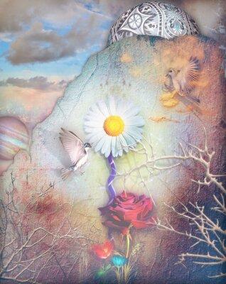 Quadro I sogni valle con colorati fiori serie