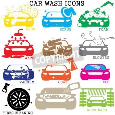 Quadro icone di autolavaggio di colore su sfondo bianco